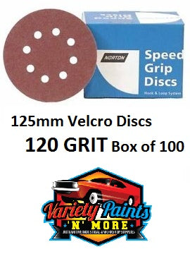 Norton 120 Grit 125mm Speed Grip Velcro Disc 8 Hole  Box 100