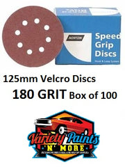 Norton 180 Grit 125mm Speed Grip Velcro Disc 8 Hole  Box 100