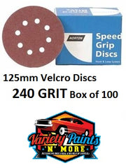 Norton 240 Grit 125mm Speed Grip Velcro Disc 8 Hole  Box 100