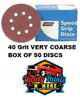 Norton 40 Grit 125mm Speed Grip Velcro Disc 8 Hole  Box 50