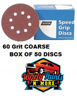 Norton 60 Grit 125mm Speed Grip Velcro Disc 8 Hole  Box 50