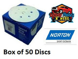 Norton No-Fil Velcro Disc 150mm 6+1H 40 Grit Box 50