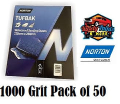 Norton Waterproof Paper 1000 Grit 50 Pack