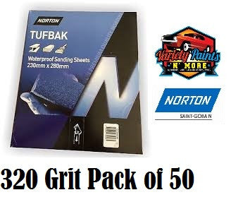 Norton Waterproof Paper 320 Grit PK50