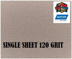 Norton No Fil Sand Paper 120 Grit Single Sheet