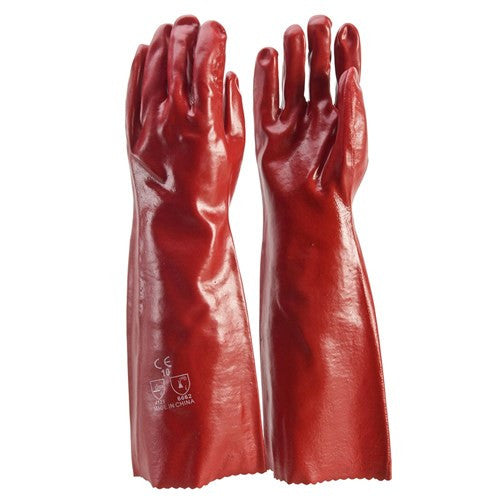 Frontier Glove PVC - Red 45cm. Single dip. Large