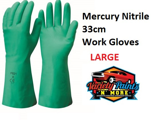 Mercury Nitrile 33cm Work Gloves Large 1 Pair
