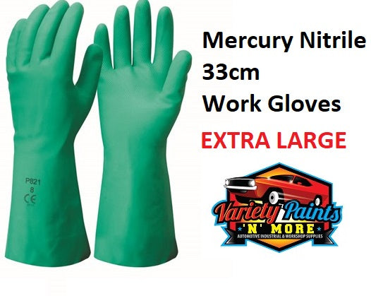 Mercury Nitrile 33cm Work Gloves XL 1 Pair