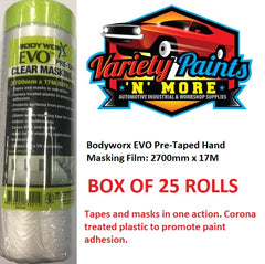 Bodyworx EVO Pre-Taped Hand Masking Film: 2700mm x 17M BOX OF 25 UNITS