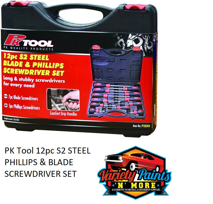PK Tool 12pc S2 STEEL PHILLIPS & BLADE SCREWDRIVER SET