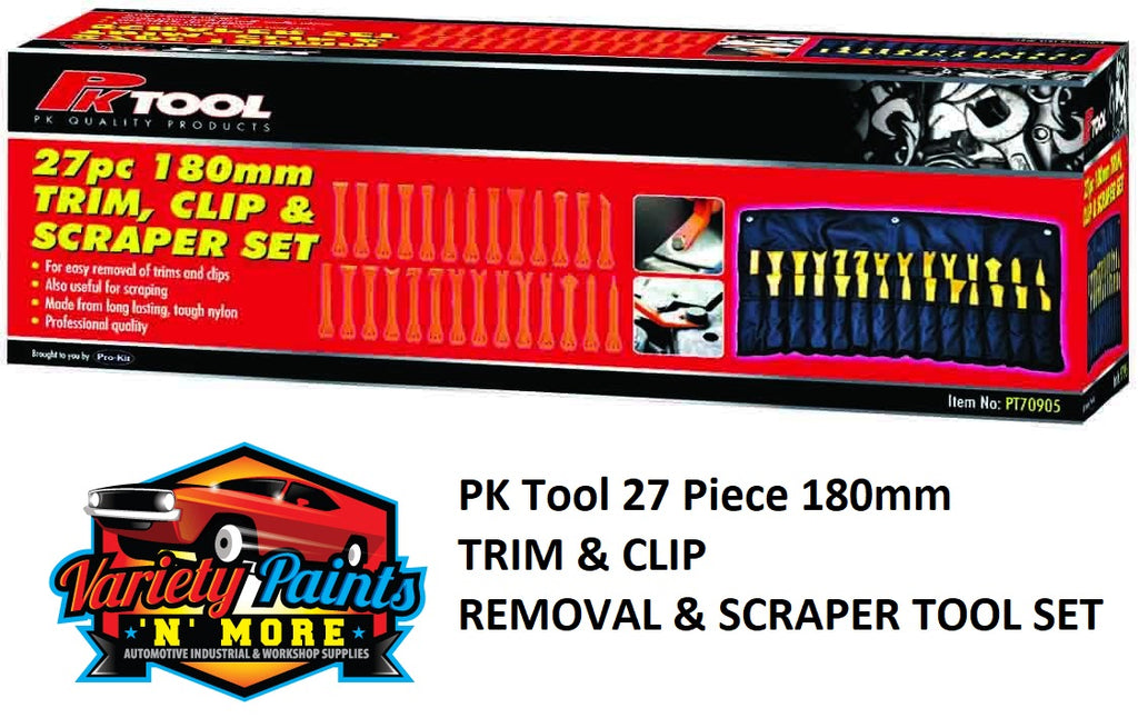 PK Tool 27 Piece 180mm TRIM & CLIP REMOVAL & SCRAPER TOOL SET