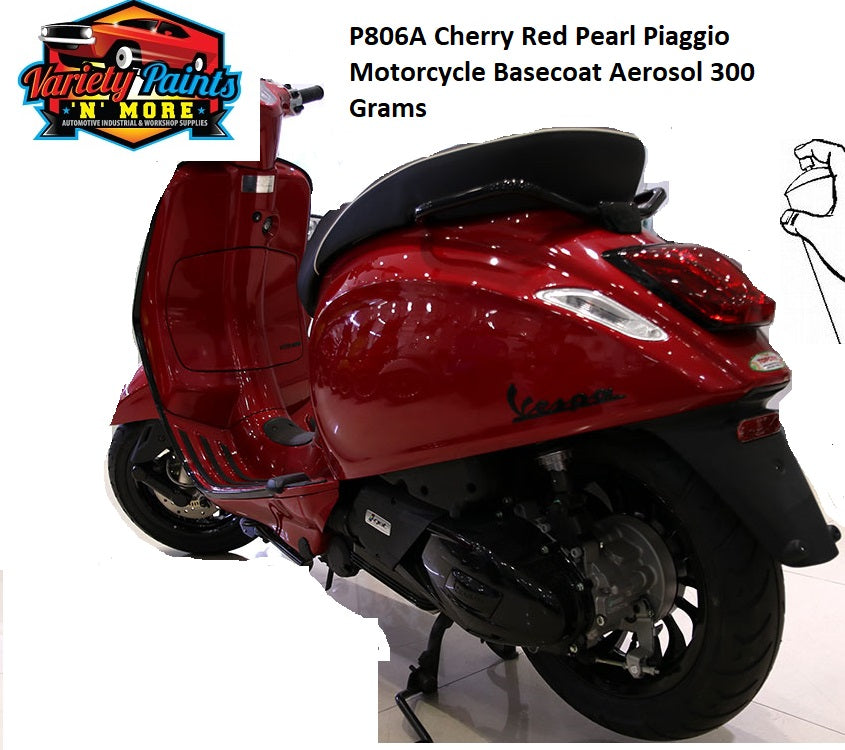 P806A Cherry Red Pearl Piaggio Motorcycle Basecoat Aerosol 300 Grams