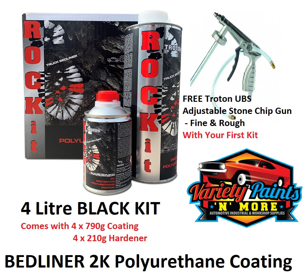 ROCK IT 2K Protective Polyurethane Bed Liner 4 Litre BLACK Kit