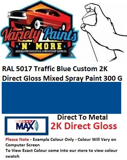 RAL 5017 Traffic Blue Custom 2K Direct Gloss Mixed Spray Paint 300 Grams