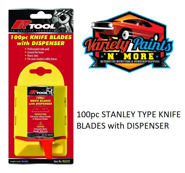 100pc STANLEY TYPE KNIFE Razor BLADES with DISPENSER PK Tool