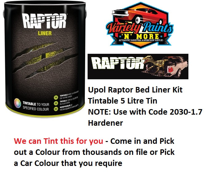 Upol Raptor Bed Liner Kit Tint TO Woodland Grey Colorbond 5 Litre Tin NEW LINE