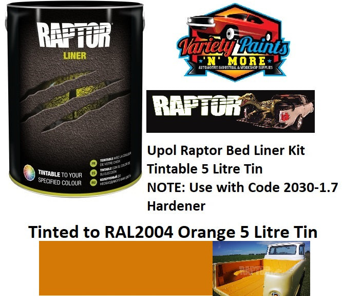 Upol Raptor Bed Liner Kit Tinted to RAL2004 Orange 5 Litre Tin