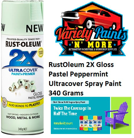 RustOleum 2X Gloss Pastel Peppermint Ultracover Spray Paint 340 Grams NEW Colour