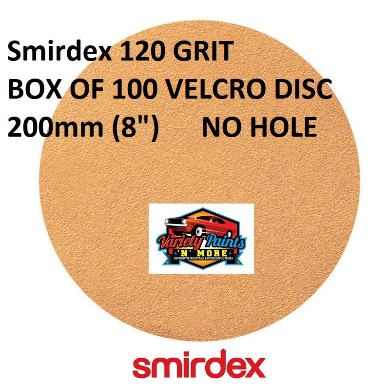 "Smirdex 120 GRIT BOX OF 100 VELCRO DISC 200mm (8"")  NO HOLE"