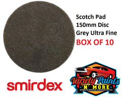 Scotch Brite 150mm Round Disc Grey Smirdex 10 PACK