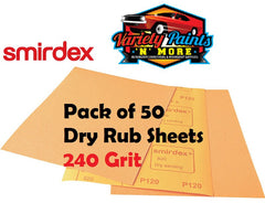 Smirdex 240 Grit Dry Rub Paper Pack of 50 Sandpaper