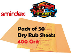 Smirdex 400 Grit Dry Rub Paper Pack of 50 Sandpaper