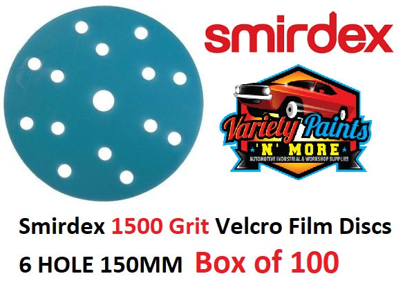 Smirdex 1500 Grit Velcro Film Disc 6H 150MM  Box of 100 Discs
