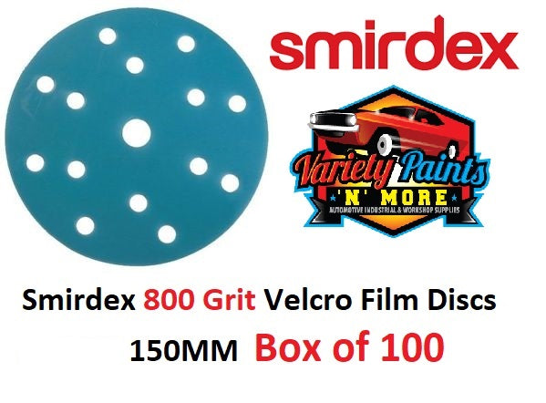 Smirdex 800 Grit 15 Hole Velcro Film Disc 150MM  Box of 100 Discs