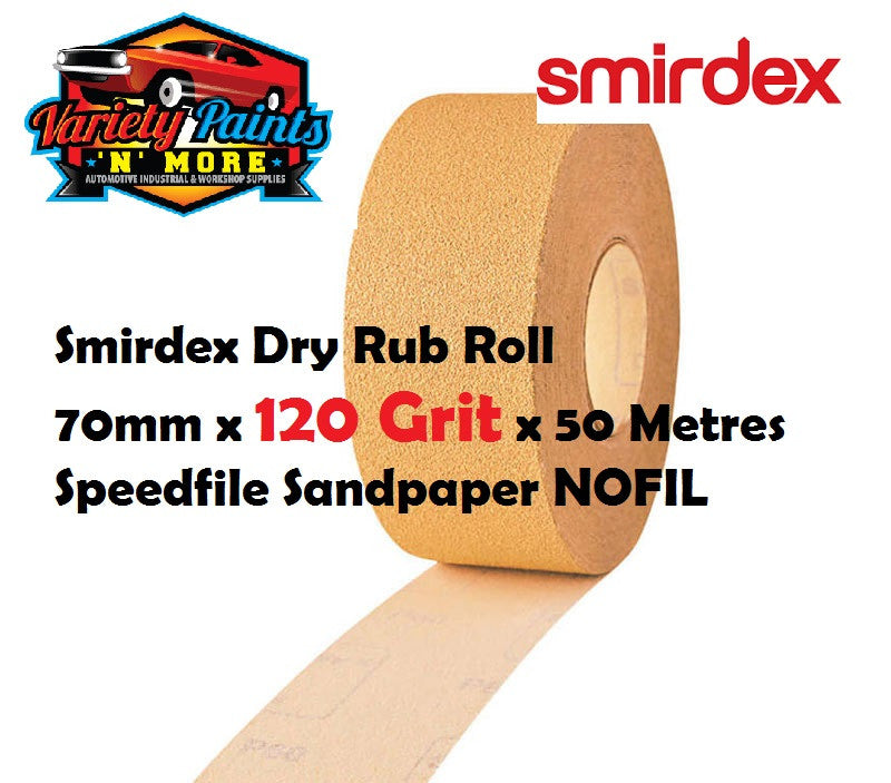 Smirdex Dry Rub Roll 70mm x 120 Grit x 50 Metres Speedfile Sandpaper NOFIL