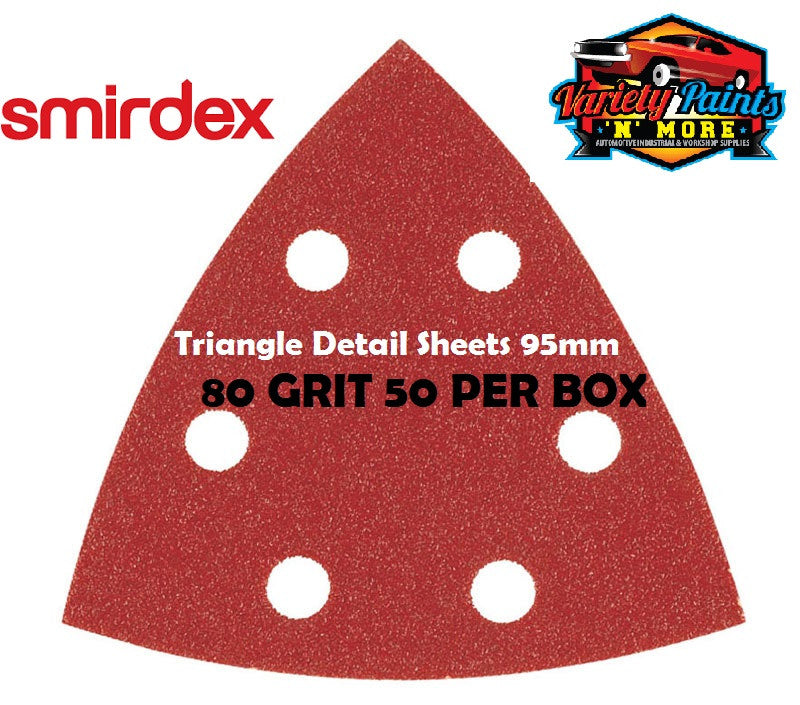 Smirdex Triangle 80 Grit BOX OF 50 Detail Sanding Sheets 95 x 95 x 95mm
