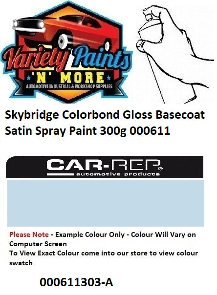 Skybridge Colorbond Gloss Basecoat Satin Spray Paint 300g 000611