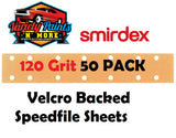 Smirdex 120 Grit Velcro Speedfile Sheets PACK OF 50 70mm x 42mm 14 HOLES