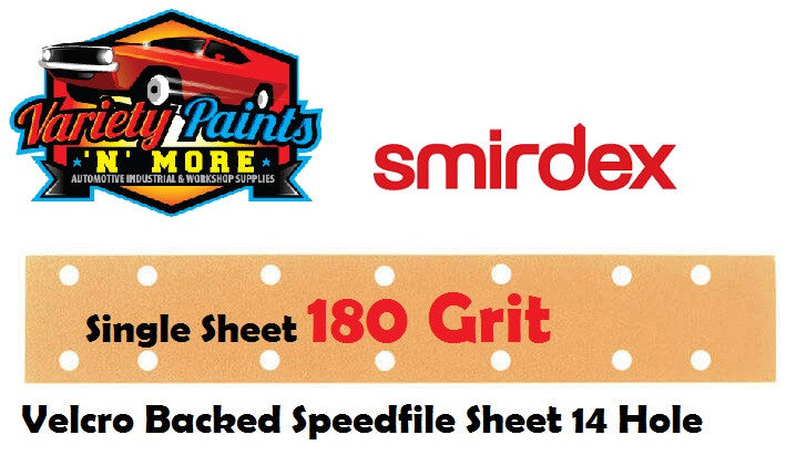 Smirdex SINGLE VELCRO 180 Grit Speedfile Sheet 70mm x 42mm 14 HOLES