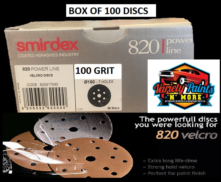 Smirdex 100 Grit Velcro Discs 150mm 6 Hole Box of 100