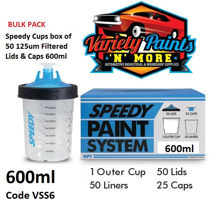 Speedy Cups box of 50 125um Filtered Lids & Caps 650ml Solvent