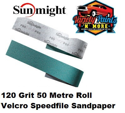 Sunmight Speedfile Velcro Film Sandpaper 120 Grit x 50 Metre Roll