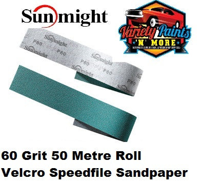 Sunmight Speedfile Velcro Film Sandpaper 60 Grit x 50 Metre Roll