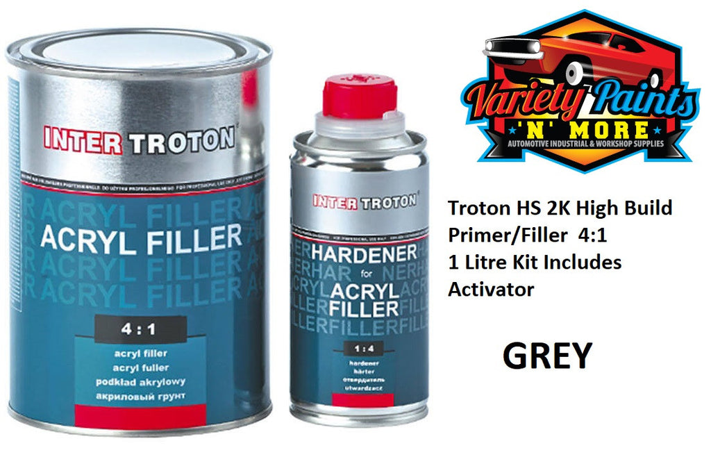 Troton Grey HS 2K High Build Primer/Filler 4:1 1 Litre Kit Includes Activator