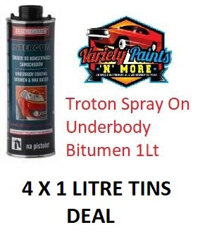 Troton Spray On Underbody Bitumen Shutz 1Lt X 4 TINS