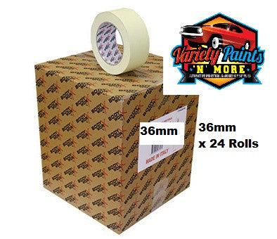 36mm Carton of 24 Rolls BodyworX High Temperature Masking Tape