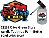 S2138 Olive Green Gloss Acrylic Touch Up Paint Bottle 50ml With Brush