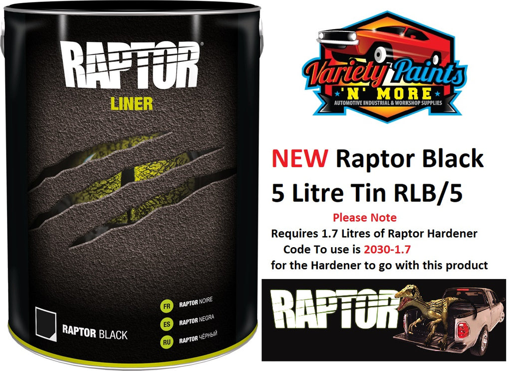 Upol Raptor Bed Liner Kit Black 5 Litre Tin NEW LINE