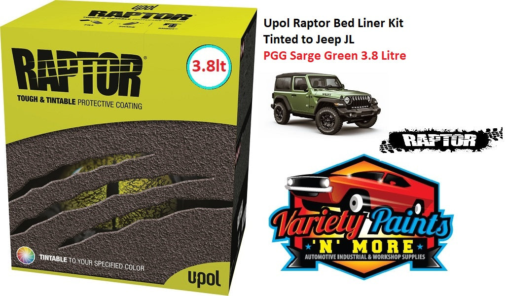 Upol Raptor Bed Liner Kit Tinted to Jeep PGG Sarge Green 3.8 Litre