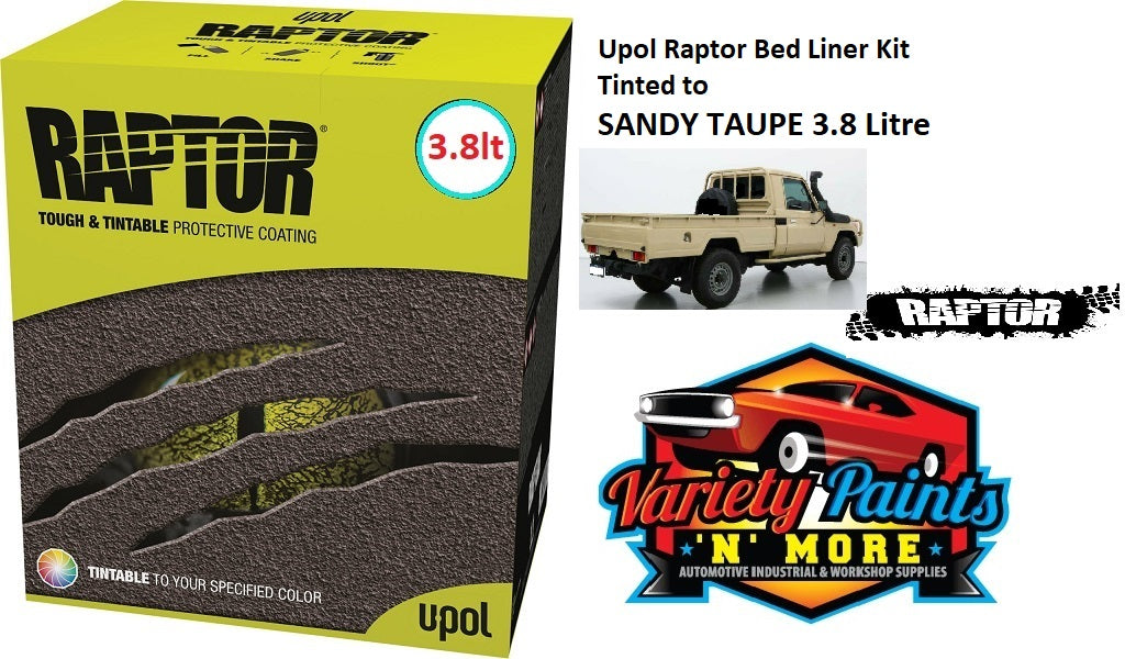 Upol Raptor Bed Liner Kit Tinted to SANDY TAUPE 3.8 Litre
