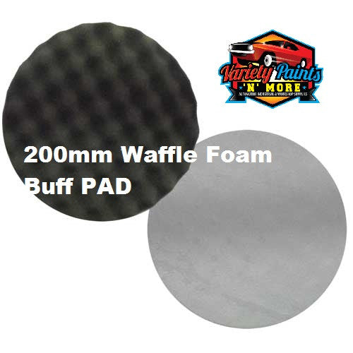 Velocity 200mm Velcro Waffle Foam Buff Pad Black Polishing & Glazing