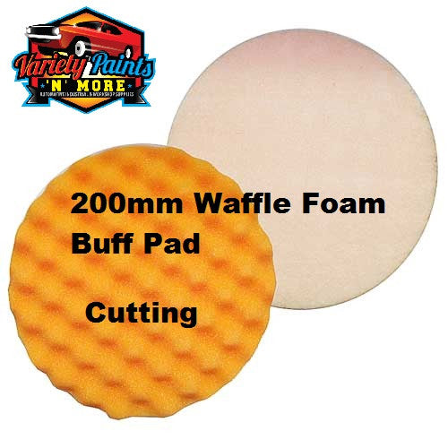 Velocity 200mm Velcro Waffle Foam Buff Pad Orange-Cutting