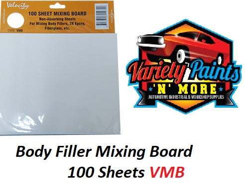 Velocity Body Filler Mixing Board - White with 100 Sheets