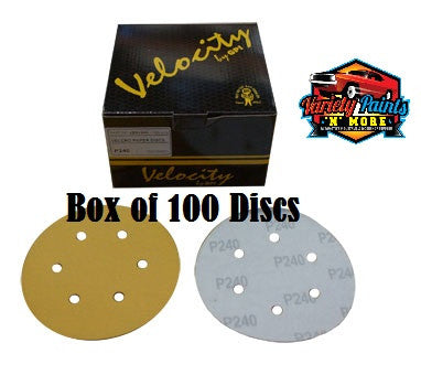 Velocity 500 Grit Box of 100 Velcro Paper Disc 6 Hole 150mm