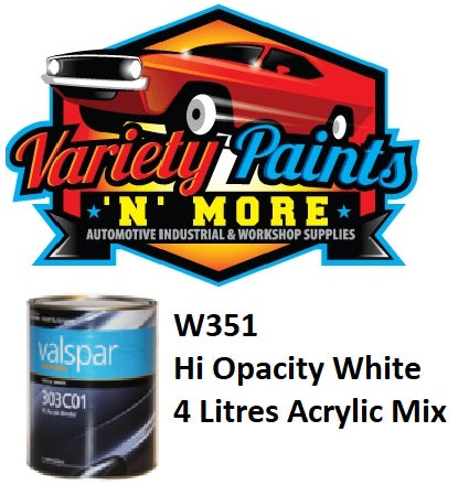 Valspar W351 High Opacity White 303 Acrylic Mix 4 Litres