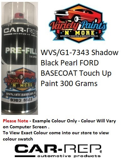 WVS/G1-7343 Shadow Black Pearl FORD BASECOAT Touch Up Paint 300 Grams